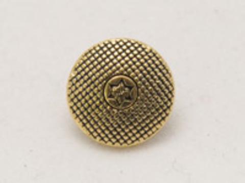Пуговица металлическая, круглая, на ножке, латунного цвета, в клеточку и со звездочкой в центре, 12 мм
