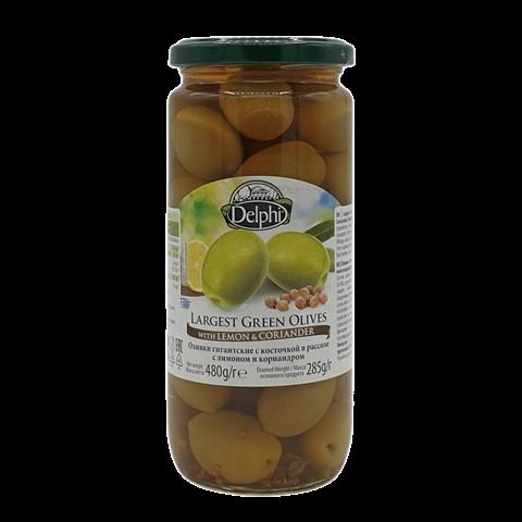 Оливки с косточкой маринованные с лимоном и кориандром DELPHI