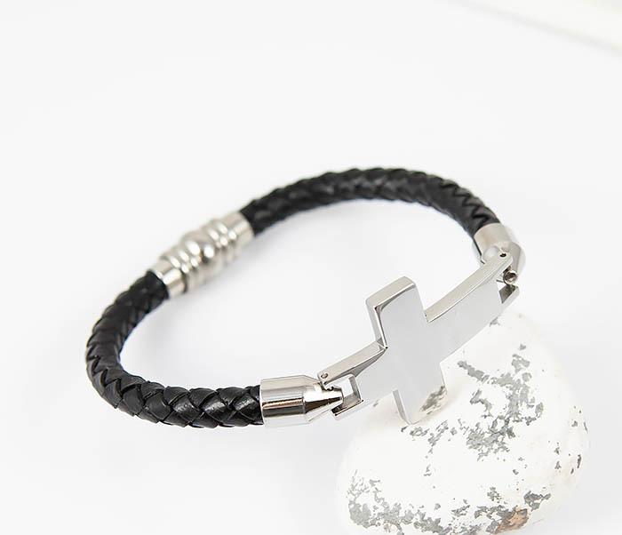 BM510-1 Кожаный браслет со стальным крестом фото 04