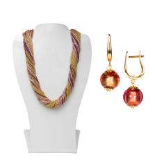 Комплект украшений золотисто-фиолетовый (серьги-бусины, ожерелье из бисера 36 нитей)