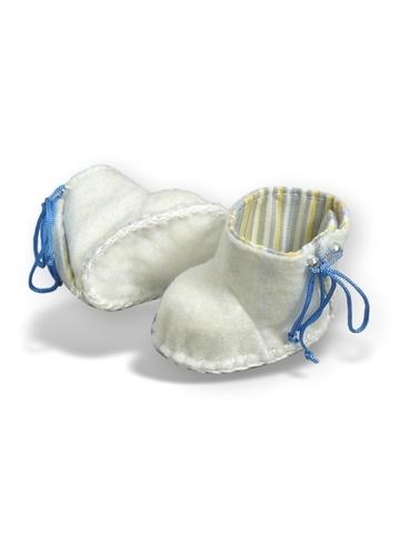Сапожки из фетра на подкладке - Белый. Одежда для кукол, пупсов и мягких игрушек.
