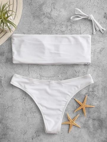 купальник раздельный белый бандо с отстегивающейся лямкой 2