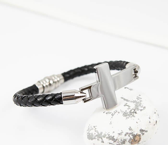 BM510-1 Кожаный браслет со стальным крестом фото 05