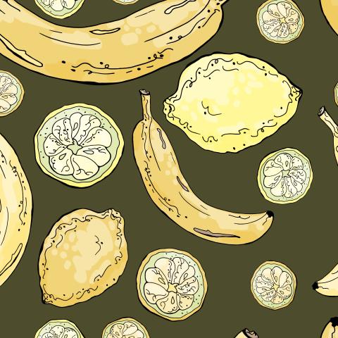 Бесшовный летний паттерн с лимонами и бананами на темном фоне