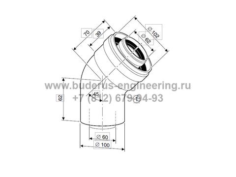 Угловое колено 45гр DN60/100 для Buderus Logamax U072
