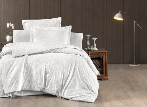 Комплект постельного белья 2 спальный (Евро) DO&CO Сатин DELUX TAMMY цвет белый