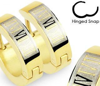 SE2063 Узкие стальные серьги золотистого цвета с римскими цифрами