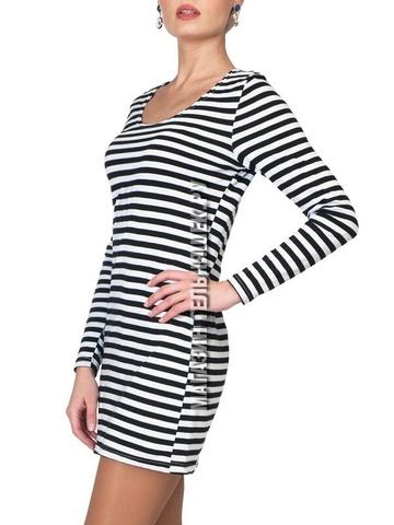 Купить платье-тельняшку - Магазин тельняшек.ру 8-800-700-93-18Платье с длинным рукавом в морском стиле (черная полоса) в Магазине тельняшек