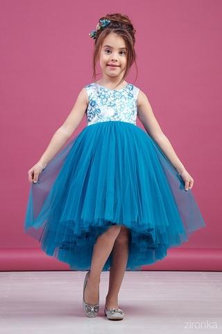 Нарядное голубое платье (арт.38-9010-2)