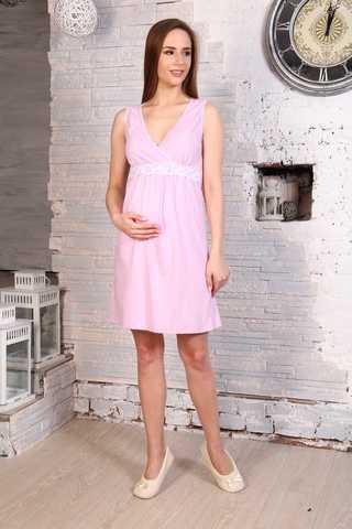 Мамаландия. Сорочка для беременных и кормящих с V-образным вырезом и кружевом, лиловый