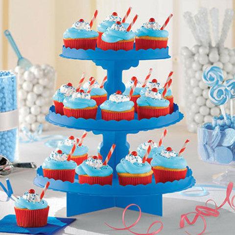 Стойка для кексов 3 яруса Синяя
