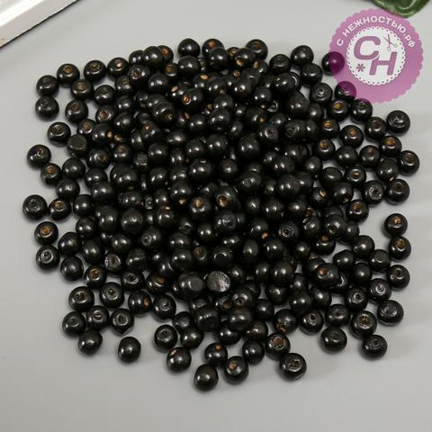 Бусины деревянные Черные, 8 мм, набор 50 гр.