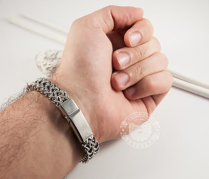 BM376 Массивный мужской браслет цепь необычного плетения (23 см) фото 09