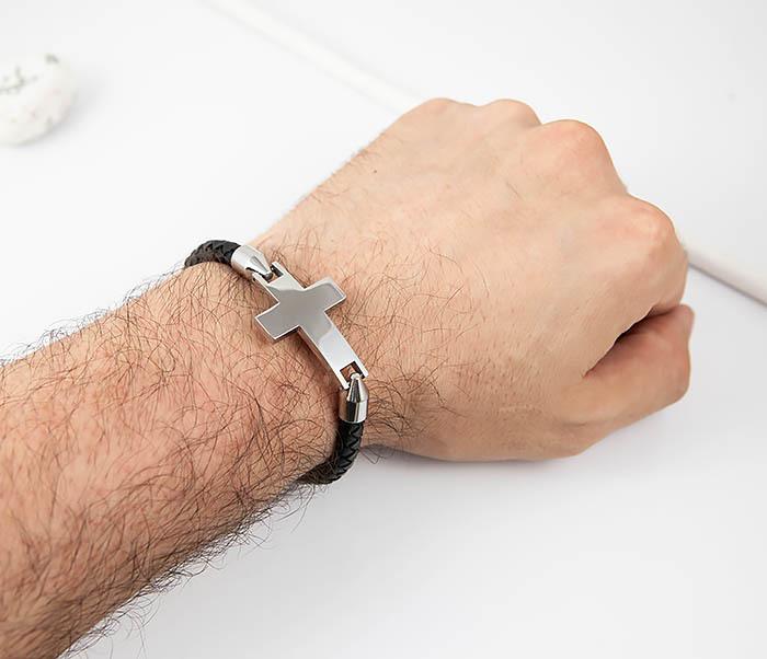 BM510-1 Кожаный браслет со стальным крестом фото 07
