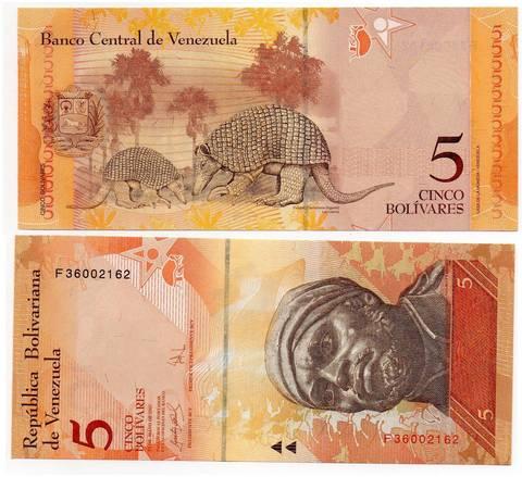 Банкнота 5 боливаров 2013 год, Венесуэла. UNC
