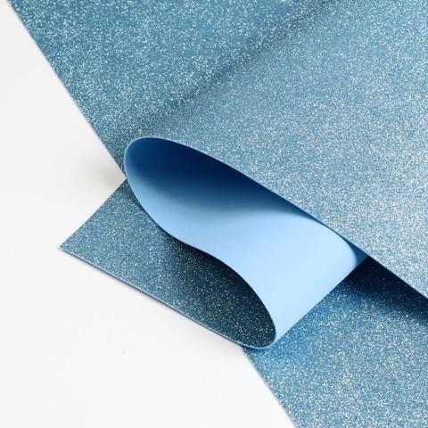 Светло голубой глиттерный фоамиран 1,8мм №38 лист 60*70см