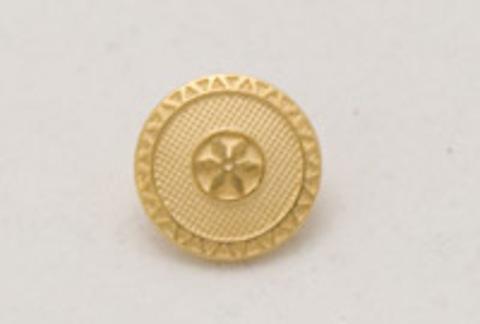 Пуговица металлическая, круглая, на ножке, золотого цвета, в клеточку, с каймой и цветком в центре, 12 мм