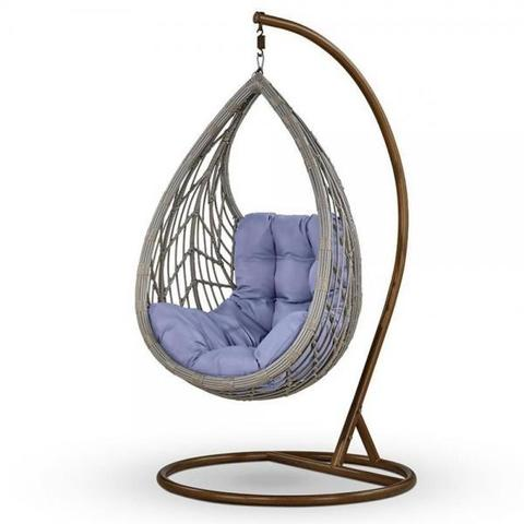 Подвесное кресло из искусственного ротанга N886-W70 Light Grey/Blue
