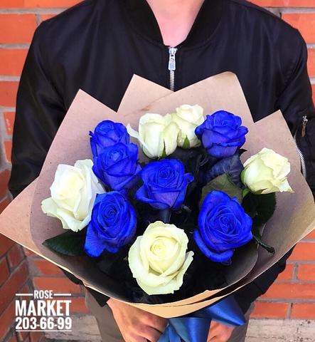 Букет из синих и белых роз #19161