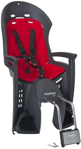 Картинка велокресло Hamax Smiley с замком серый/красный - 1