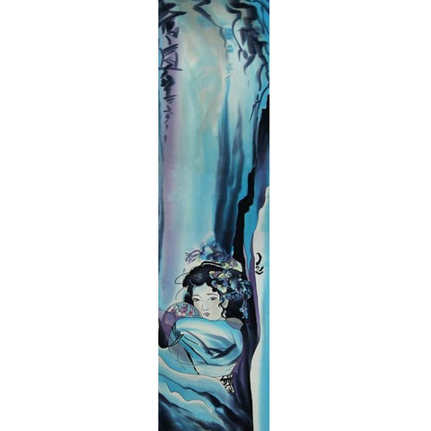 Шелковый шарф батик Девушка с веером С-57