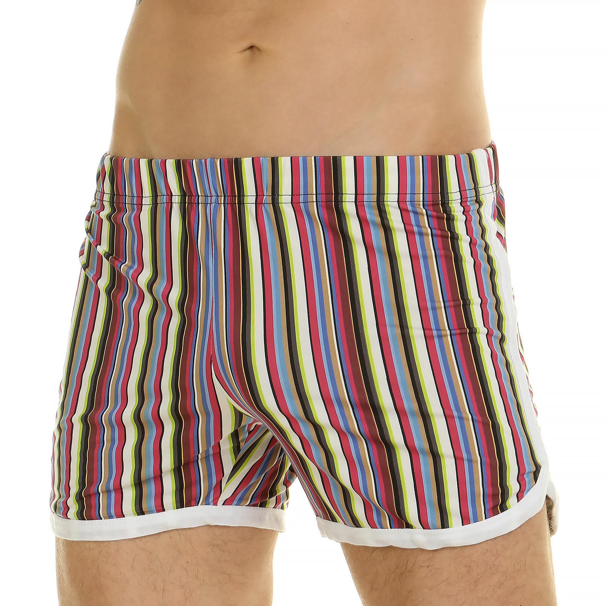 Мужские шорты домашние в разноцветную полоску Van Baam 44779