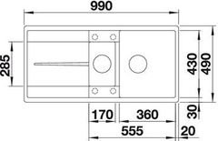 Мойка кухонная Blanco Metra 6S-F - вид сверху