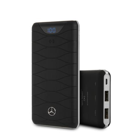 Mercedes / Внешний аккумулятор беспроводной 10000 mAh | цифровой дисплей, 2USB, черный