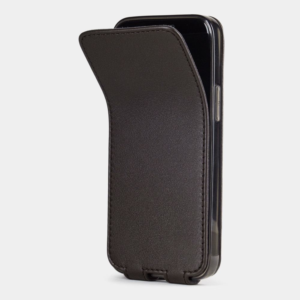Чехол для iPhone 12 Mini из натуральной кожи теленка, темно-коричневого цвета