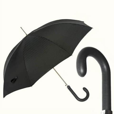 Купить черный зонт с кожаной ручкой