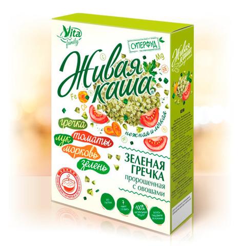 Гречка зеленая пророщенная с овощами, 300г (Алтайснэк)
