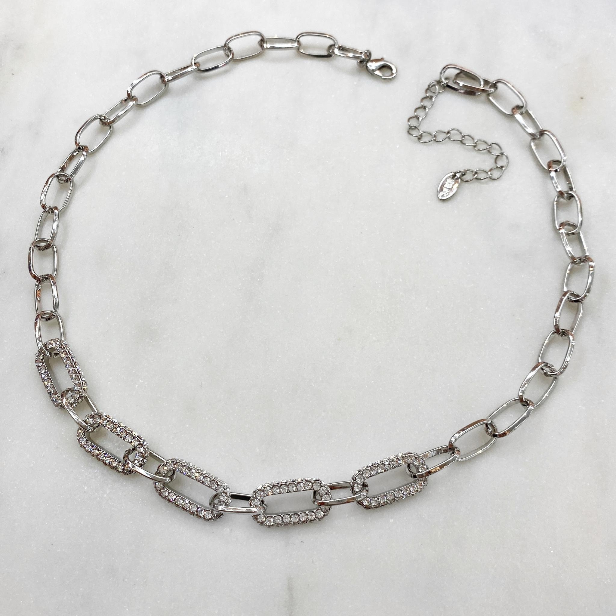 Колье-цепь с кристаллами Swarovski (серебристый)