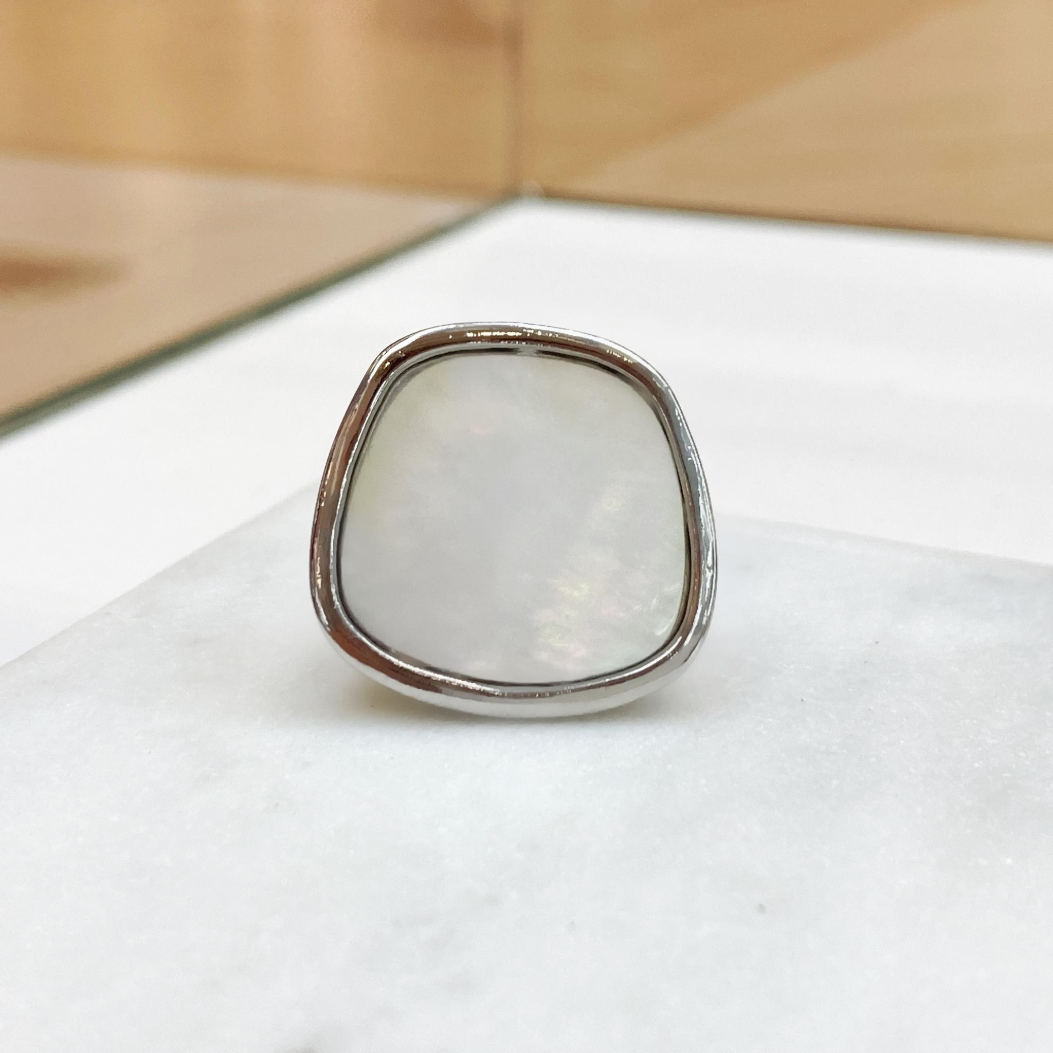 Кольцо Гаити с перламутром (серебристый)