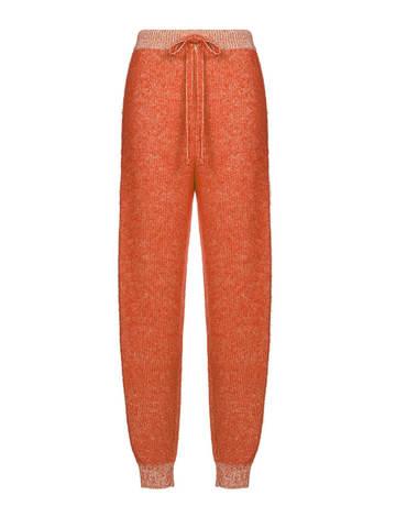 Женские брюки терракотового цвета из мохера и кашемира - фото 1