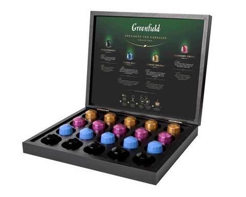 Подарочный набор чая Greenfield из 4 видов в в деревянной шкатулке, 20 капсул для кофемашин Nespresso