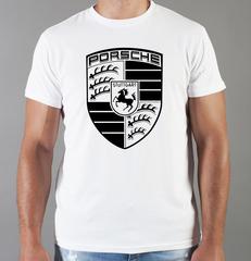 Футболка с принтом Порше (Porsche) белая 006