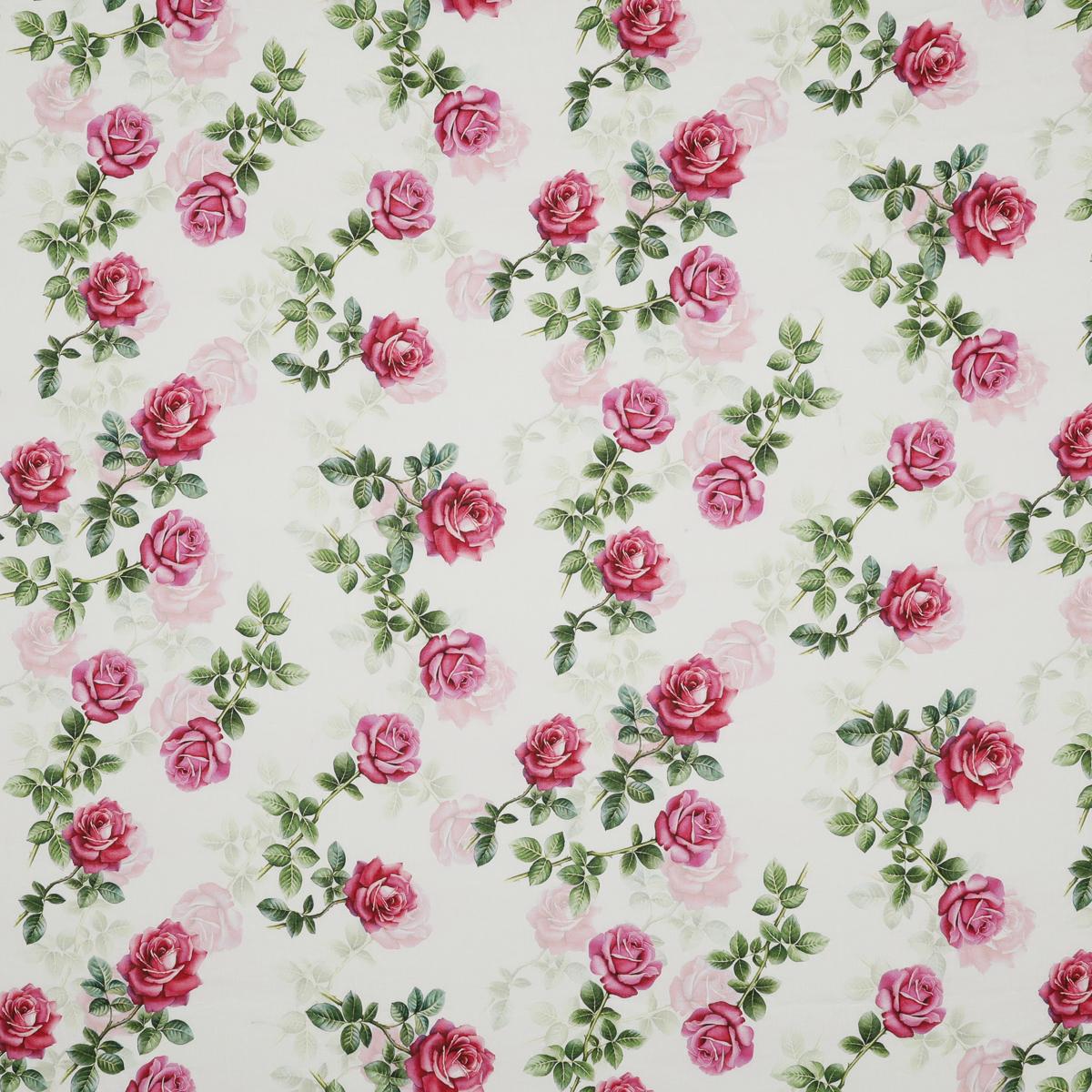 Шелковистый тонкий лён с розами на белом