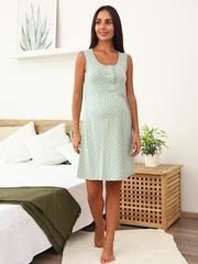 Мамаландия. Сорочка для беременных и кормящих с кнопками, звезды/светло-зеленый