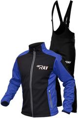 Утеплённый лыжный костюм RAY RACE WS Black-Blue мужской с лямками и высокой спиной