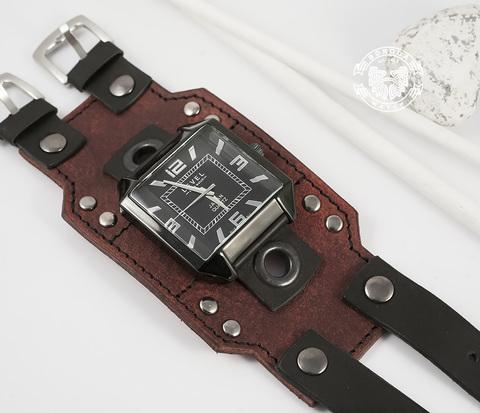 WLS138 Массивный двухцветный браслет для часов из натуральной кожи