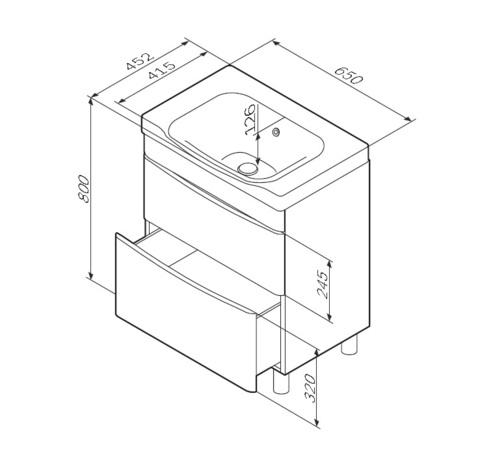 Комплект мебели AM-PM LIKE - 65 ( тумба напольная, раковина, зеркальный шкафчик)