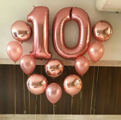 Сердце из шаров - цифры, круги и латексные шары цвета розовое золото/пудра