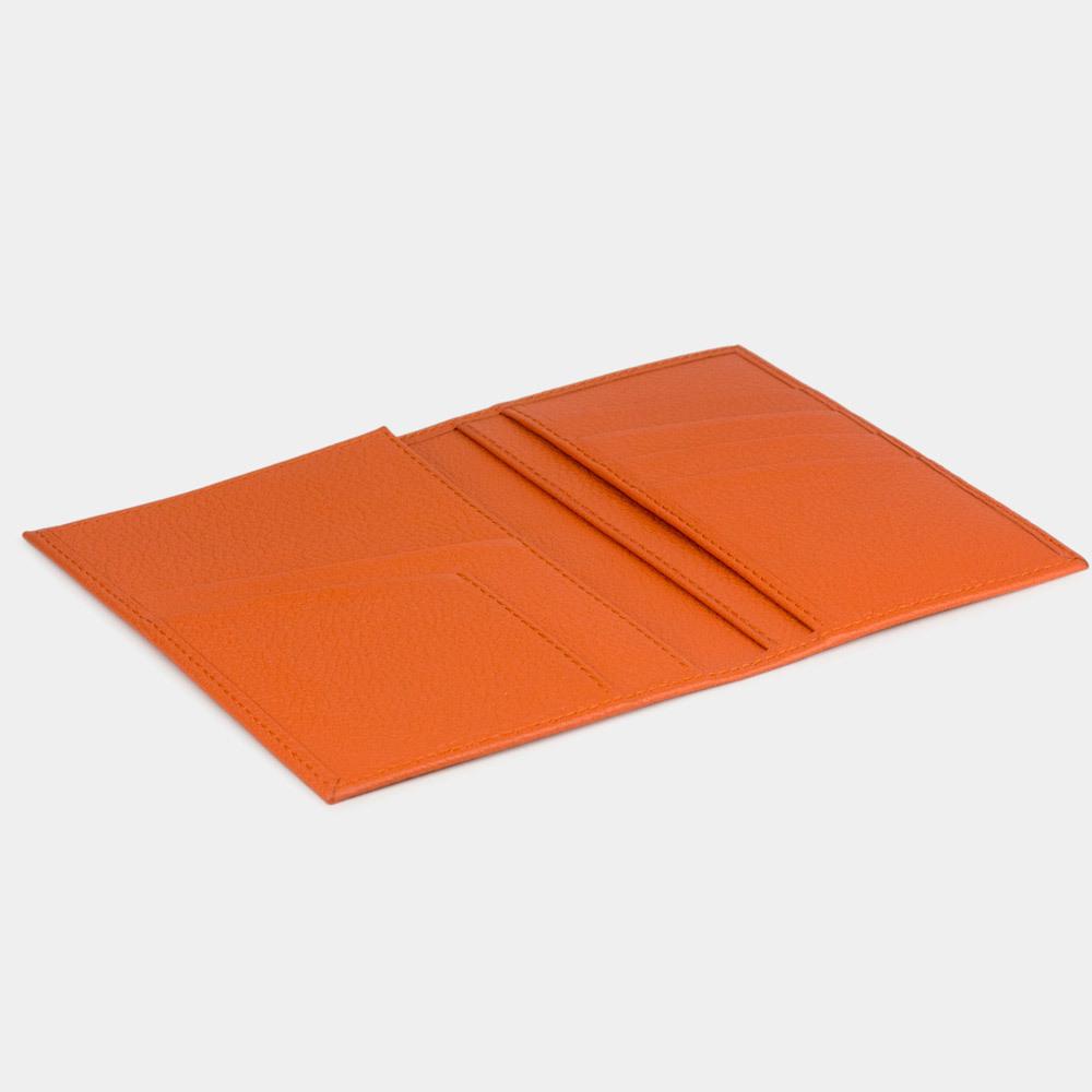 Обложка на паспорт и для автодокументов Paris Easy из натуральной кожи теленка, оранжевого цвета