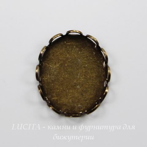 Сеттинг - основа для камеи или кабошона 12х10 мм (оксид латуни) ()