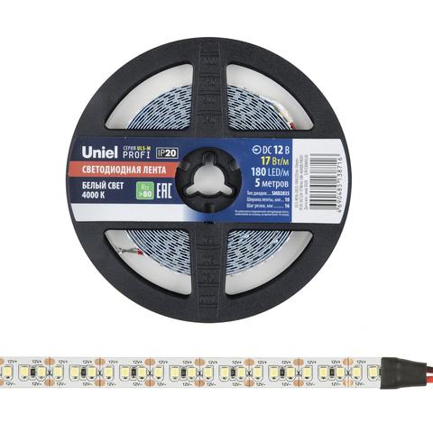 ULS-M16-2835-180LED/m-10mm-IP20-DC12V-17W/m-5M-4000K PROFI Гибкая светодиодная лента на самоклеящейся основе. Катушка 5м. в герметичной упаковке. Белый свет(4000К). ТМ Uniel