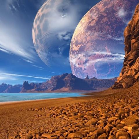 Алмазная Мозаика 40x50 Вид на космос с другой планеты (арт. GA71110)
