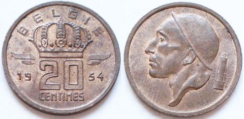 Бельгия 20 сантимов 1954