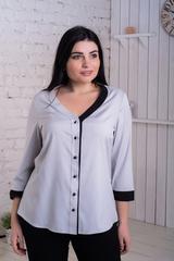 Ольга. Стильная комбинированная блуза. Серый