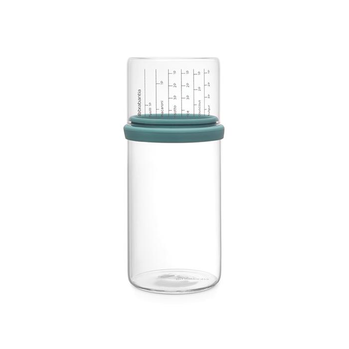 Стеклянная банка с мерным стаканом (1 л), Мятный, арт. 290244 - фото 1