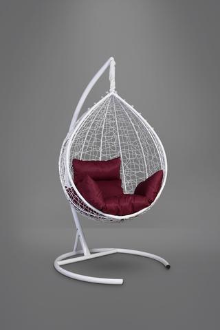 Подвесное кресло-кокон SEVILLA белое + каркас + бордовая подушка